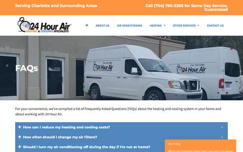 Screenshot of FAQ Page 24hourair.com - FAQs | 24 Hour Air Heating & Cooling Specialists - captured Oct. 20, 2018
