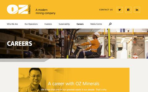 Screenshot of Jobs Page ozminerals.com - Careers | OZ Minerals - captured June 18, 2017