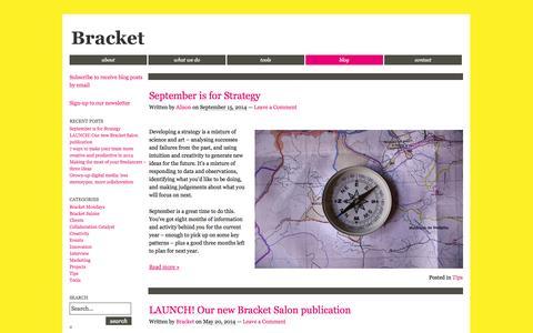 Screenshot of Blog bracketcreative.co.uk - Blog | Bracket - captured Sept. 30, 2014