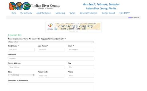 Screenshot of Contact Page indianriverchamber.com - Contact the Indian River Chamber of Commerce - Chamber of Commerce - Indian River County, Vero Beach Florida - Indian River Chamber - captured Nov. 26, 2016