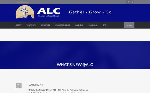Screenshot of Blog americanlutheran.net - What's New @ALC | AMERICAN LUTHERAN CHURCH | In the name of Christ we Gather, Grow, and Go. - captured Oct. 8, 2017