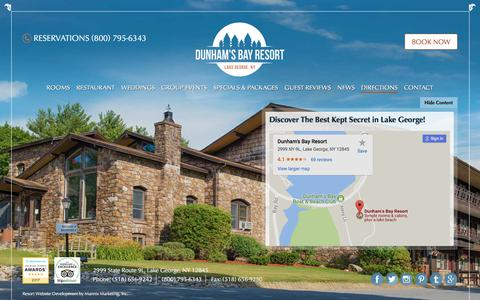 Screenshot of Maps & Directions Page dunhamsbay.com - Directions to Dunham's Bay Resort | Lake George Lodging & Dining - captured Oct. 13, 2017