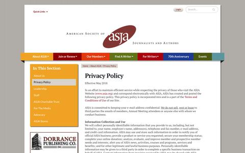 Screenshot of Privacy Page asja.org - Privacy Policy - captured July 14, 2018