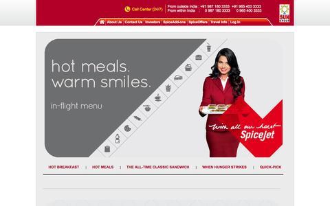 Screenshot of Menu Page spicejet.com - Enjoy Fine Restaurant Quality Dining with SpiceJet - captured Oct. 29, 2014