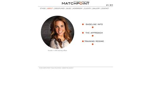 Screenshot of About Page matchpointagency.com - About Us | Matchpoint Public Relations + Marketing Agency - captured Sept. 30, 2014