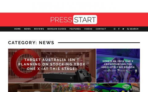 Screenshot of Press Page press-start.com.au - News | Press Start Australia - captured Aug. 25, 2017