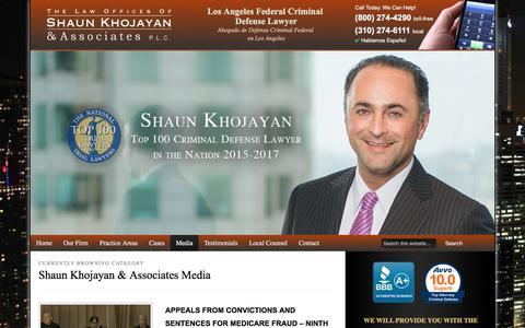 Screenshot of Press Page skcriminaldefense.com - Shaun Khojayan & Associates Media Archives » Shaun Khojayan & Associates - captured July 20, 2017