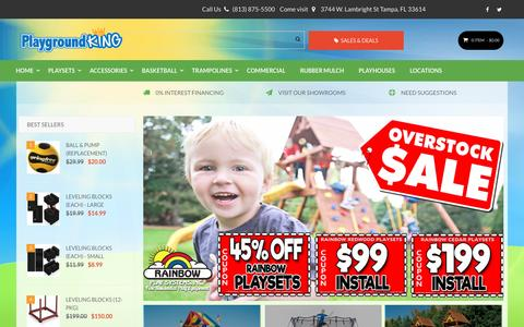 Screenshot of Home Page playgroundking.com - Rainbow Playsets Swing Sets & More | Playground King Florida - captured May 1, 2017