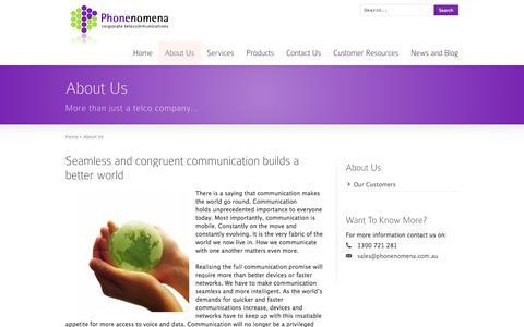 Screenshot of About Page phonenomena.com.au - Phonenomena Corporate Telecommunications: About Us | Phonenomena | Telstra Enterprise Partner | Enterprise Mobility Management - captured Sept. 29, 2014