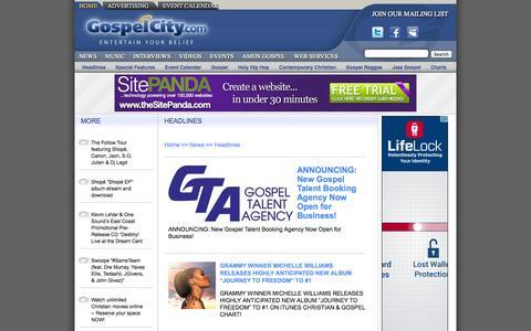Screenshot of Press Page gospelcity.com - Gospel Music -- Headlines -- Entertain Your Belief - captured Oct. 3, 2014