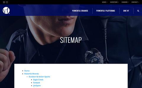 Screenshot of Site Map Page vfc.com - Sitemap :: VF Corporation (VFC) - captured Dec. 28, 2015