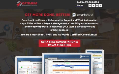 Screenshot of Landing Page optimumcs.com - Optimum - Manage and Automate Collaborative Work with Smartsheet! - captured Nov. 14, 2016