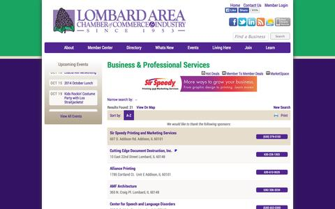 Screenshot of Services Page lombardchamber.com - Business & Professional Services - Lombard Area Chamber of Commerce and Industry - Lombard, Illinois - captured Oct. 3, 2014