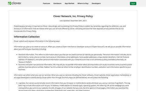 Privacy Policy | Clover | www.clover.com
