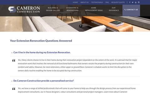 Screenshot of FAQ Page cameronconstruction.com.au - Common Extension Renovation Questions Answered - captured July 13, 2017