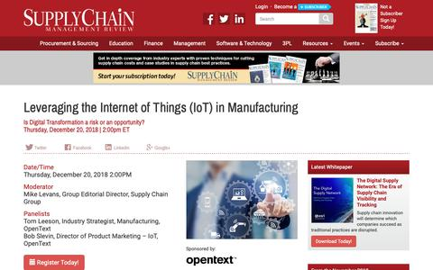 Screenshot of Signup Page scmr.com - Leveraging the Internet of Things (IoT) in Manufacturing - Supply Chain Management Review - captured Dec. 12, 2018