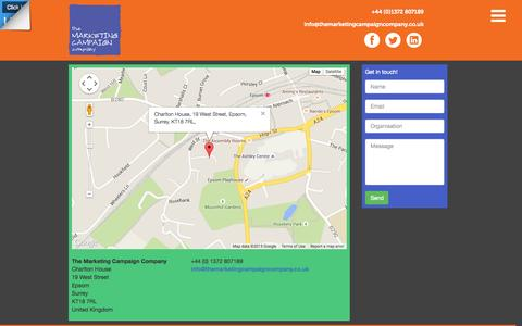 Screenshot of Contact Page themarketingcampaigncompany.co.uk - Contact Us - The Marketing Campaign Company - captured Aug. 15, 2015
