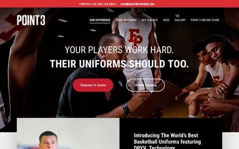 Screenshot of Team Page point3basketball.com - Point 3 Basketball Team Uniforms – The World's Best Basketball Team Uniforms - captured July 15, 2018