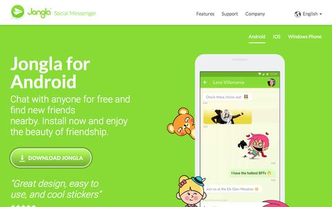 Screenshot of Home Page jongla.com - Jongla: Chat for free with anyone and find new friends nearby - captured Nov. 27, 2016
