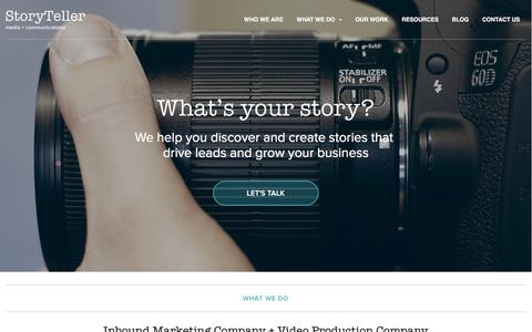 Screenshot of Home Page storytellermn.com - Inbound Marketing Company + Video Production Company - captured Jan. 15, 2016
