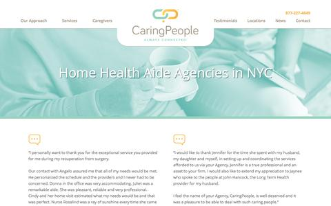 Screenshot of Testimonials Page caringpeopleinc.com - Home Health Aide Agencies in NYC- Caring People Inc. - captured Oct. 24, 2016