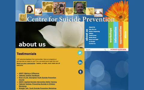 Screenshot of Testimonials Page suicideinfo.ca - Testimonials - captured Oct. 2, 2014