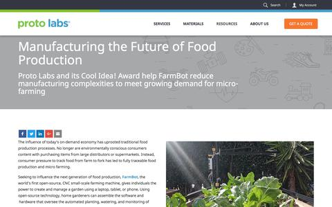 Screenshot of Case Studies Page protolabs.com - Case Study: Manufacturing the Future of Food Production - captured Nov. 11, 2017