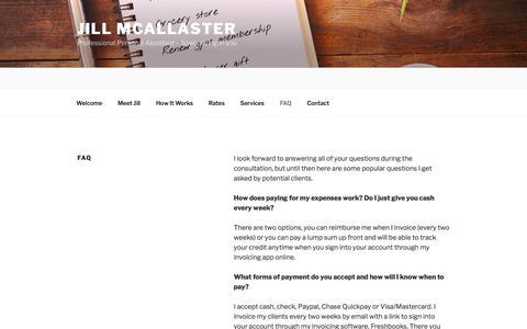 Screenshot of FAQ Page jillmcallaster.com - Ask A Personal Assistant | Jill Mcallaster - captured Oct. 16, 2017