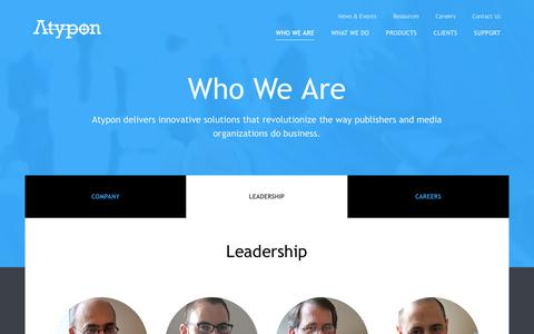 Screenshot of Team Page atypon.com - Leadership | Atypon Systems, Inc. - captured July 27, 2016