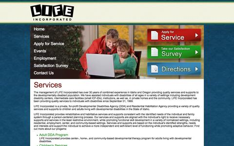 Screenshot of Services Page lifeincidaho.com - LIFE Incorporated | Services - captured Oct. 3, 2014