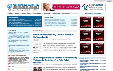 Screenshot of Terms Page performinsider.com - Posts in the Legal Challenges Category at Performance Marketing Insider - captured Sept. 18, 2014