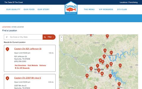 Screenshot of Locations Page captainds.com - Captain D's Seafood Kitchen   Seafood, Fresh Fish, Affordable - captured July 15, 2018