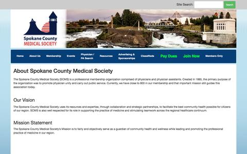 Screenshot of About Page spcms.org - Spokane County Medical Society - captured Dec. 1, 2016