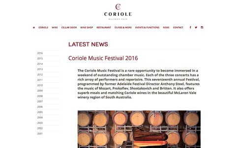 Screenshot of Press Page coriole.com - Coriole Vineyards | Sangiovese - Interview SBS TV's Wine Lovers' Guide to Australia. | Award winning wines from McLaren Vale, South Australia. - captured Nov. 11, 2016