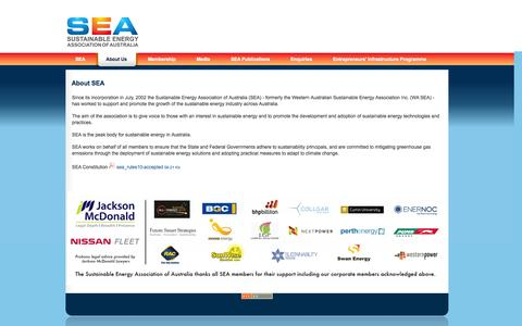 Screenshot of About Page seaaus.com.au - About SEA - Sustainable Energy Association - captured Oct. 26, 2014