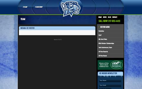 Screenshot of Team Page indianaice.com - Team   Indiana Ice - captured Oct. 6, 2014