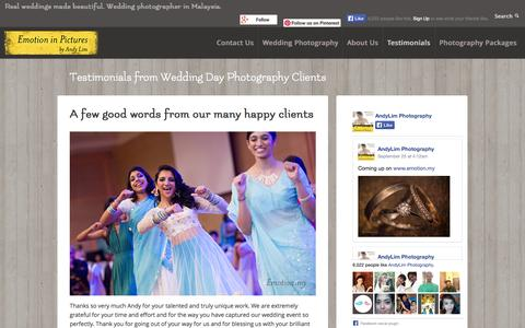 Screenshot of Testimonials Page emotioninpictures.com - Wedding Day Photography Testimonials: Emotion in Pictures by Andy Lim - captured Sept. 30, 2014