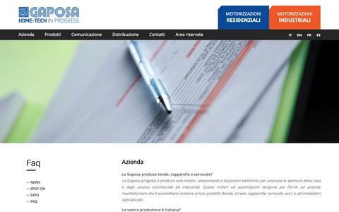 Screenshot of FAQ Page gaposa.it - Gaposa | Domande sugli automatismi e sull' azienda Gaposa srl - captured Sept. 27, 2018
