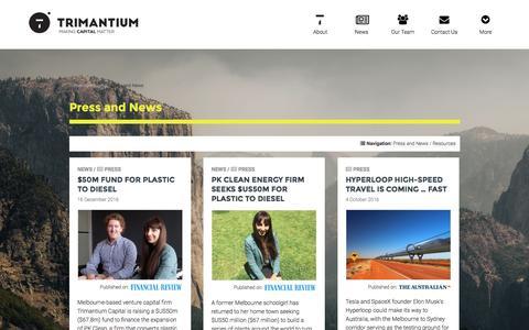 Screenshot of Press Page trimantium.com - Press and News - Trimantium Capital - captured Dec. 16, 2016