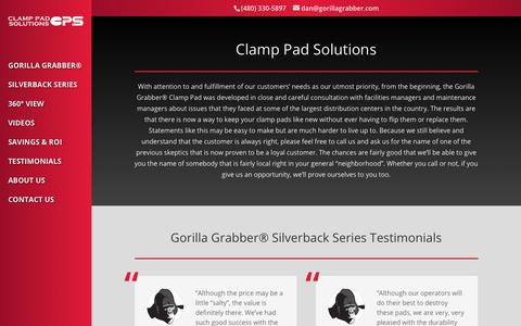 Screenshot of About Page Testimonials Page gorillagrabber.com - Clamp Pad Solutions   Gorilla Grabber® Carton Clamp Pads - captured Sept. 28, 2018