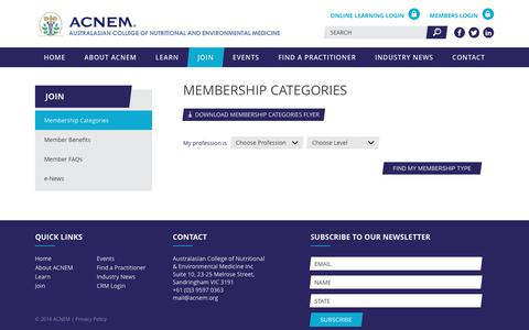 Screenshot of Signup Page acnem.org - Membership Categories | Australasian College of Nutritional and Environmental Medicine - captured July 28, 2018
