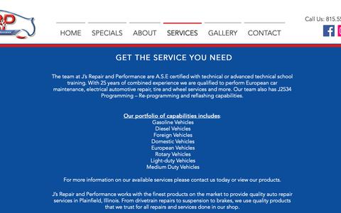Screenshot of Services Page jrpshop.com - J's Body & Repair | SERVICES - captured Oct. 1, 2018