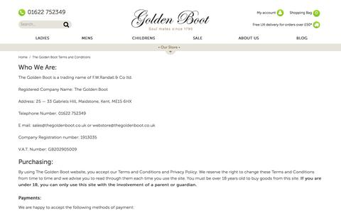 Screenshot of FAQ Page Terms Page thegoldenboot.co.uk - The Golden Boot Terms and Conditions - captured Feb. 24, 2018