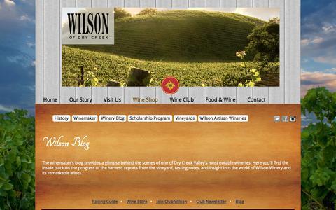 Screenshot of Blog wilsonwinery.com - Wilson Winery: Blog - wilson winery, sonoma county wine, dry creek, fine wine, california - captured Feb. 11, 2016