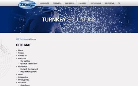 Screenshot of Site Map Page meptec.com - Site map - MEP Technologies - captured Jan. 23, 2016