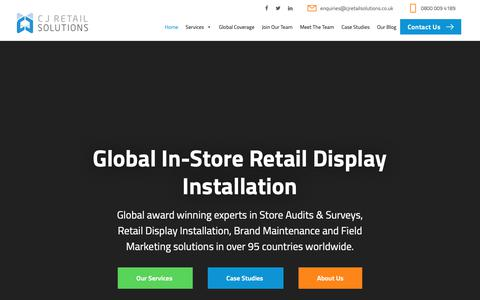Screenshot of Home Page cjretailsolutions.co.uk - Retail Display Installation & Retail Audit Experts - CJ Retail Solutions - captured Nov. 14, 2018