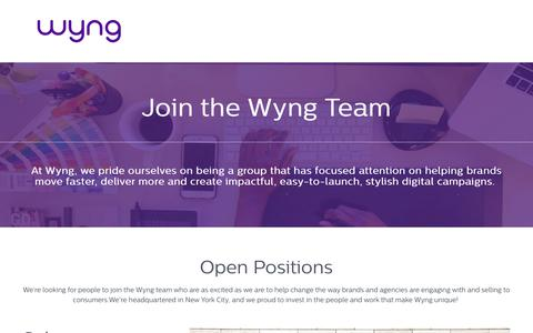 Screenshot of Jobs Page wyng.com - Careers - captured March 5, 2018