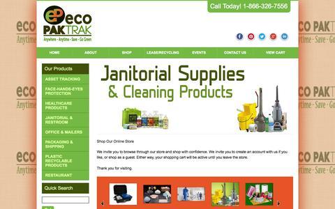 Screenshot of Home Page ecopaktrak.com - Shop | Eco PakTrak Inc - captured Oct. 1, 2014