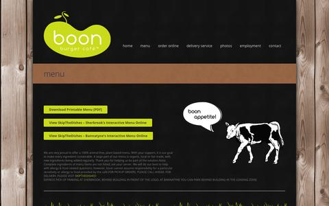 Screenshot of Menu Page boonburger.ca - Winnipeg Vegan Restaurant | Organic Takeout | Fair Trade | Boon BurgerBoon Burger - captured Oct. 5, 2014