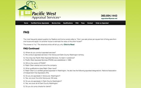 Screenshot of FAQ Page pwas.net - FAQ - Pacific West Appraisal Services Vancouver WA 360.694.1443 Certified Residential Real Estate Appraiser - captured Sept. 26, 2018